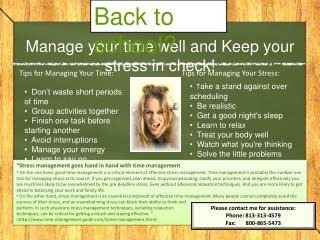Manage your time well and Keep your stress in check!