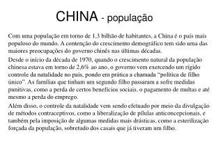 CHINA - popula  o