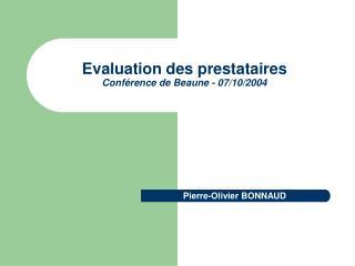Evaluation des prestataires Conf rence de Beaune - 07