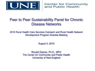 Peer to Peer Sustainability Panel for Chronic Disease Networks