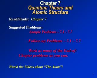 Chapter 7 Quantum Theory and Atomic Structure