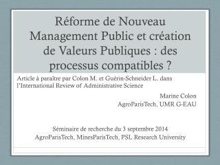 Marine Colon AgroParisTech, UMR G-EAU Séminaire de recherche du 3 septembre 2014