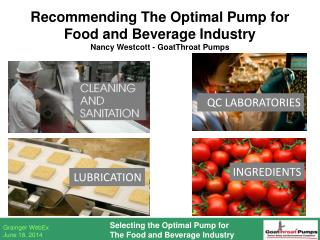 Recommending The Optimal Pump for Food and Beverage Industry Nancy Westcott - GoatThroat Pumps