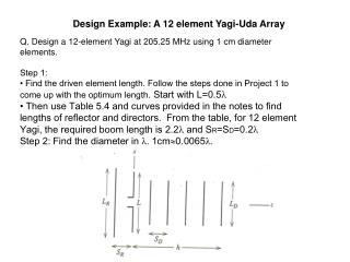 Design Example: A 12 element Yagi-Uda Array