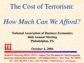 The Cost of Terrorism: How Much Can We Afford?