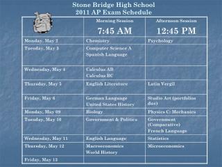 Stone Bridge High School 2011 AP Exam Schedule