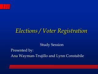 Elections / Voter Registration