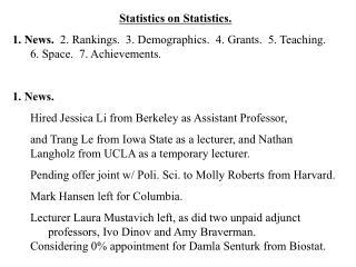 Statistics on Statistics.