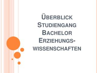 Überblick Studiengang Bachelor Erziehungs- wissenschaften