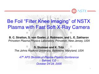 Be Foil �Filter Knee Imaging� of NSTX Plasma with Fast Soft X-Ray Camera