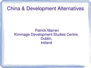 China & Development Alternatives