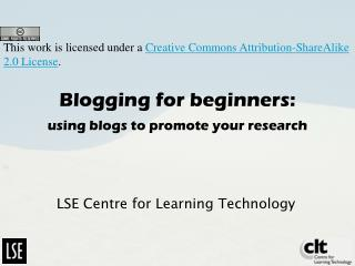 Blogging for beginners: using blogs to promote your research