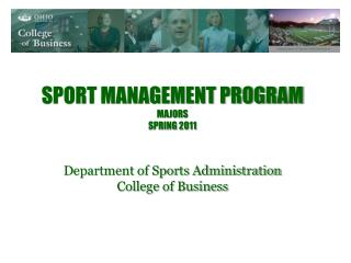 Sport Management Program Majors Spring 2011