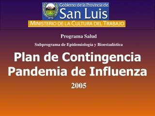 Plan de Contingencia Pandemia de Influenza