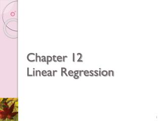 Chapter 12 Linear Regression