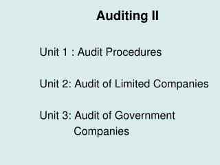 Auditing II
