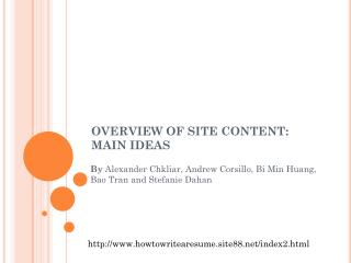 OVERVIEW OF SITE CONTENT: MAIN IDEAS