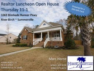 Realtor Luncheon Open House Thursday 11-1