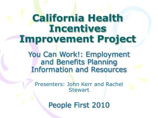California Health Incentives Improvement Project
