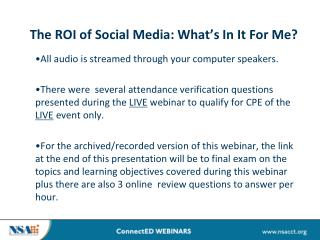 The ROI of Social Media: What's In It For Me?