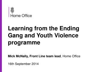 Learning from the Ending Gang and Youth Violence programme