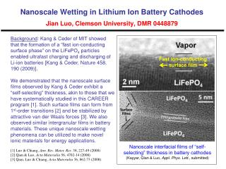 Nanoscale Wetting in Lithium Ion Battery Cathodes Jian Luo, Clemson University, DMR 0448879