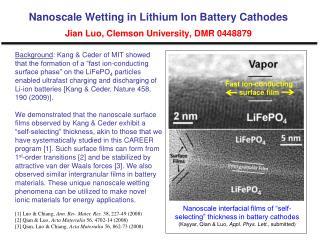 Nanoscale Wetting in Lithium Ion Battery Cathodes Jian Luo, Clemson University, DMR 0448879