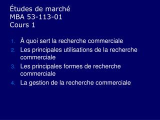 �tudes de march� MBA 53-113-01 Cours 1