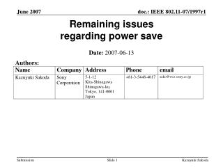Remaining issues  regarding power save