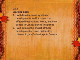 D3.2  Learning Goal: