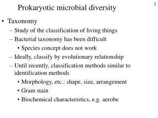 Prokaryotic microbial diversity