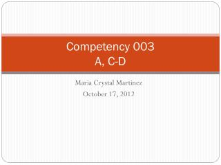 Competency 003 A, C-D