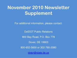 November 2010 Newsletter Supplement