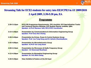 Streaming Talk for ECE2 students for entry into EE3/CPE3 in AY 2009/2010