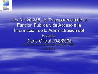 Armando Aravena Alegría Abogado, ACHM  Julio 2009.