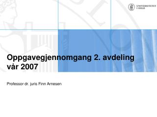 Oppgavegjennomgang 2. avdeling v�r 2007