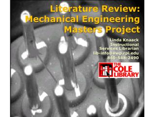 Literature Review: Mechanical Engineering Masters Project