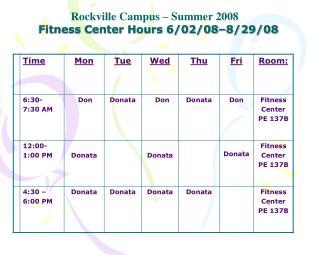 Fitness Center Hours 6/02/08�8/29/08