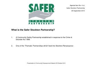 What is the Safer Stockton Partnership?