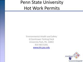 Penn State University  Hot Work Permits