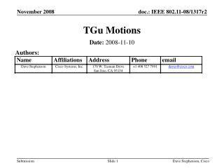 TGu Motions