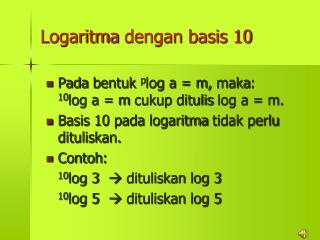 Logaritma dengan  basis 10
