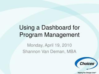 Using a Dashboard for Program Management