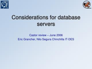 Considerations for database servers