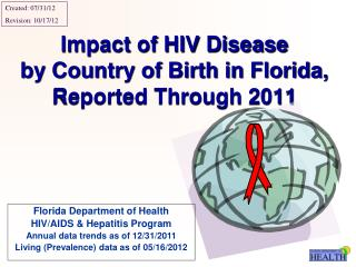Impact of HIV Disease by Country of Birth in Florida, Reported Through 2011