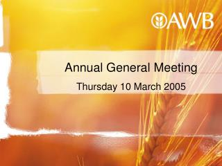 Annual General Meeting  Thursday 10 March 2005