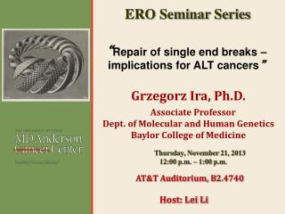 """ Repair of single end breaks – implications for ALT  cancers """