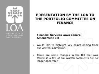 Financial Services Laws General Amendment Bill