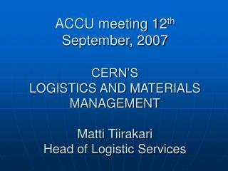 CERN MATERIALS MANAGEMENT