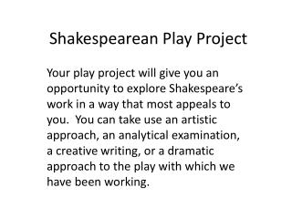Shakespearean Play Project